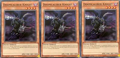 3 x Yugioh LED5-EN007 Doomcaliber Knight Common 1st edition NM