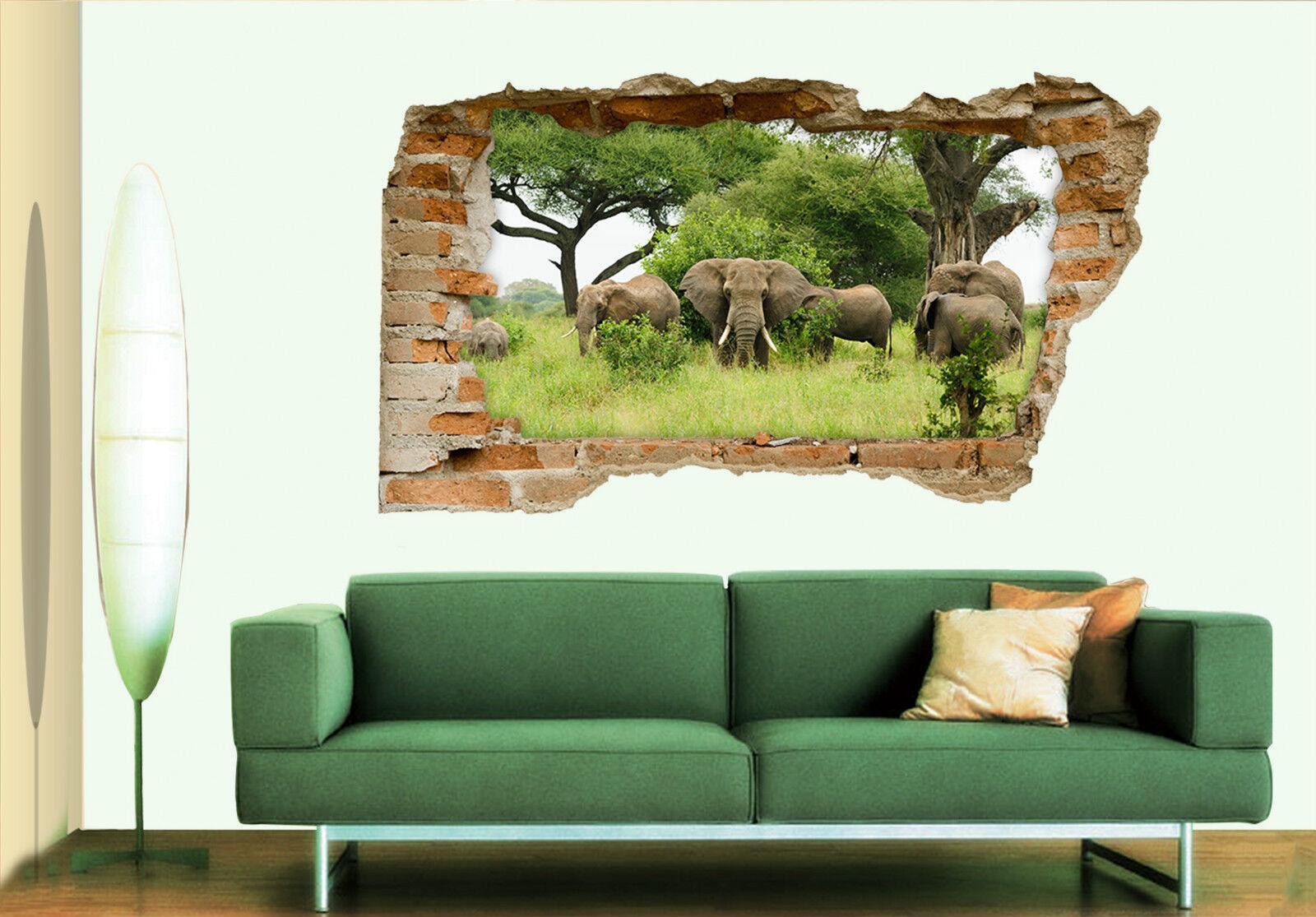 3D Elefanten 49 Mauer Murals Aufklebe Decal Durchbruch AJ WALLPAPER DE Lemon
