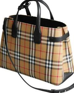 NEW-BURBERRY-VINTAGE-CHECK-BLACK-LEATHER-MEDIUM-BANNER-TOTE-BAG-AUTHENTIC