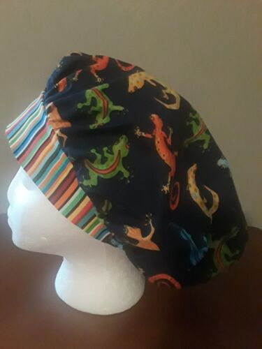 Gecko Lizards Women's Bouffant Surgical Scrub HatCap Handmade