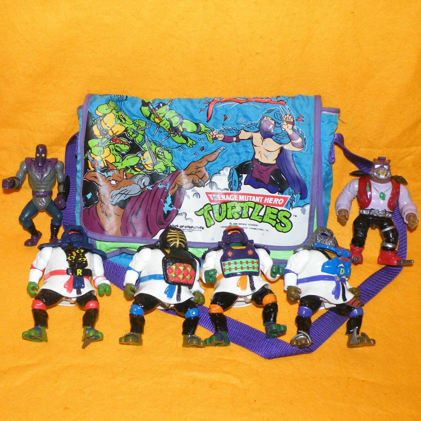 VINTAGE VINTAGE VINTAGE 1990 TEENAGE MUTANT HERO NINJA TURTLES BAG + 1993 AUTO MUTATIONS FIGURES 664cc0