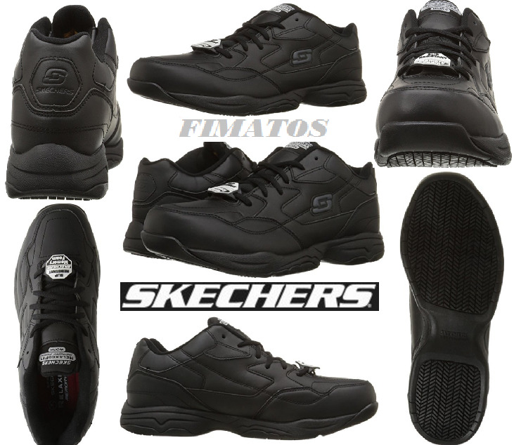 Skechers for Work Men's Felton Walking Shoe,with Memory foam Black, 8 M US