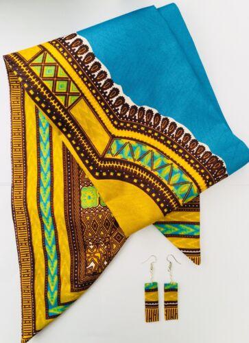 """Dashiki African print Head Band Hair Wrap Earrings Tie Scarf Ankara Retro 6X44"""""""