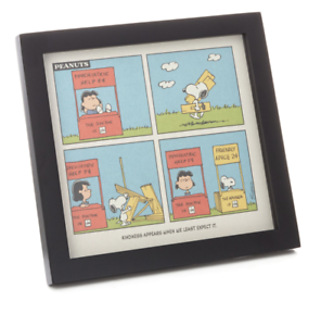 Hallmark-Peanuts-Lucy-and-Snoopy-Kindness-Cartoon-Framed-Art-Quoted-Sign-New