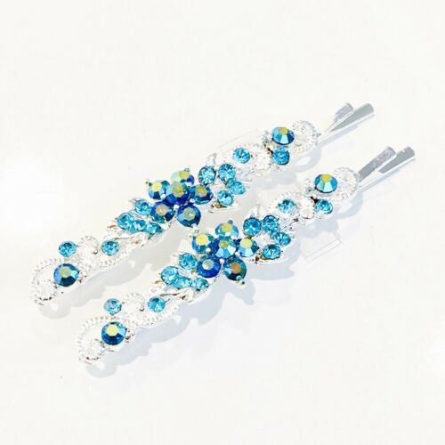 USA Bobby Pin Rhinestone Crystal Hair Clip Hairpin Elegant Flower Blue 46-4