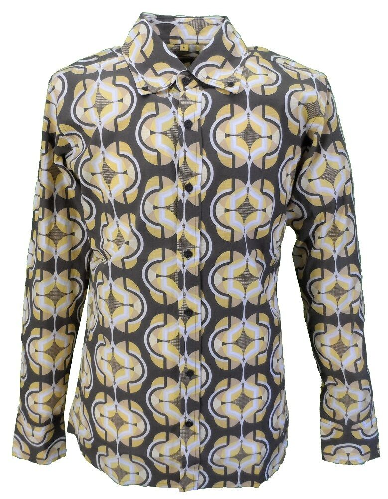 Mens 60s 70s Retro Mod Brown Pop Art Geometric Print Shirt