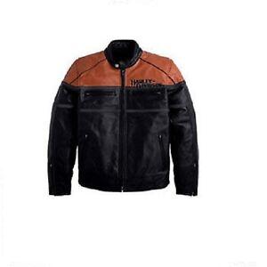 Pelle Davidson 10vm Uomo Custer Nere Di 97144 Arancio Harley 2xl Nuovo Giacca qgS0OHww
