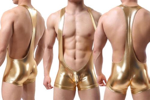 Men/'s Body Slip d/'athlète en Faux Cuir Sous-vêtements Justaucorps singulet élastique C092