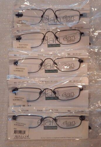 5 Pc.Elan 9180 Matte Black 49//20 Metal 1//2 Eye Lot Eyeglass Frame NOS #164