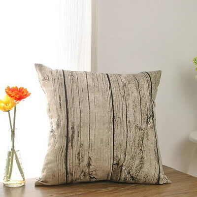 Vintage Rustic Wood Pillowcase Sofa Bed Decor Throw Pillow Case Cushion Cover