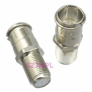 1pce Adapter Connector Slide On F Tv Plug Pin To F Tv Jack Pin