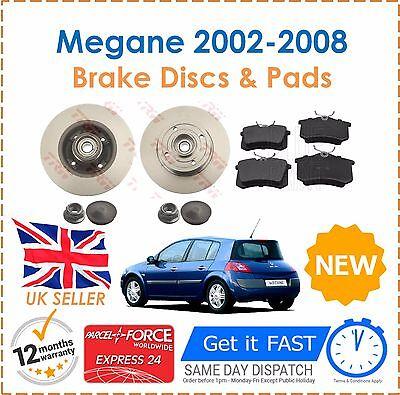 For Megane MK2 02-08 Rear Brake Discs &  Pads + ABS Rings & Fitted Wheel Bearing