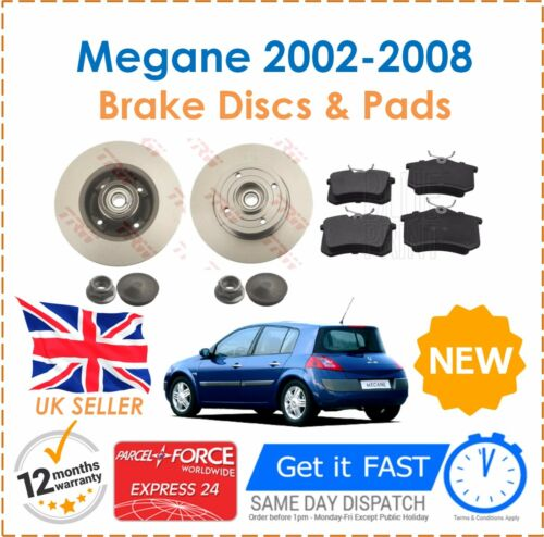 For Megane MK2 02-08 Rear Brake Discs /&  Pads ABS Rings /& Fitted Wheel Bearing