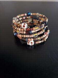 Handmade-womens-unique-beaded-wood-amp-skull-memory-wire-bracelet-wrap