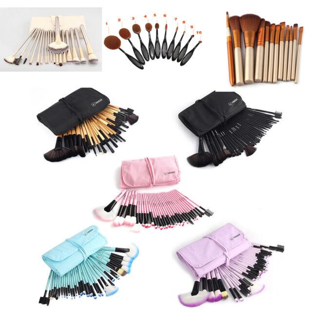 32/10Pcs Professional Eyeshadow Makeup Brushes Set Kabuki Toothbursh+ Pouch Bag