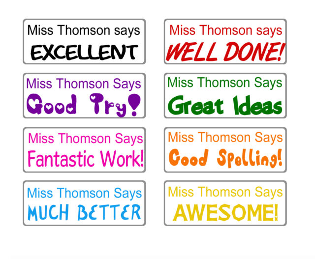 custom name rubber stamp self inking school teacher homework personalized gift