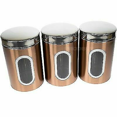 Tea Coffee Sugar Storage Canister Set Addis Copper Black Silver Air Tight For Sale Online Ebay