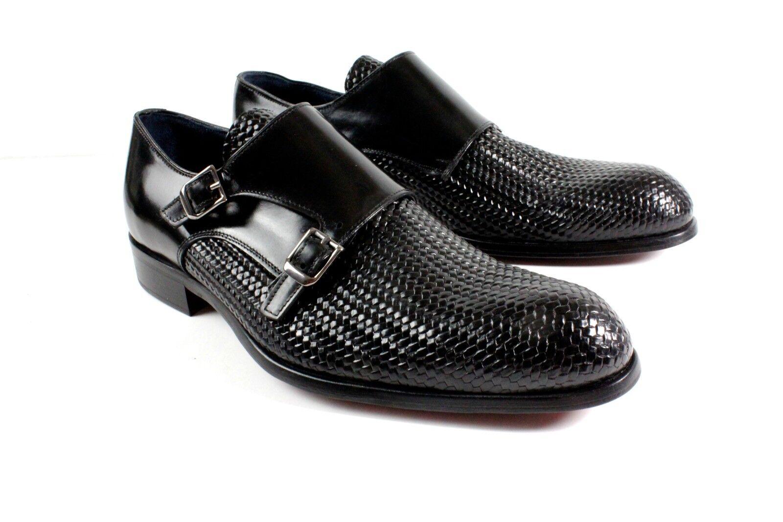 vendita scontata nero Handmade Monk Strap Italian Leather Dress scarpe    Oxford scarpe   Dimensione 40  più ordine