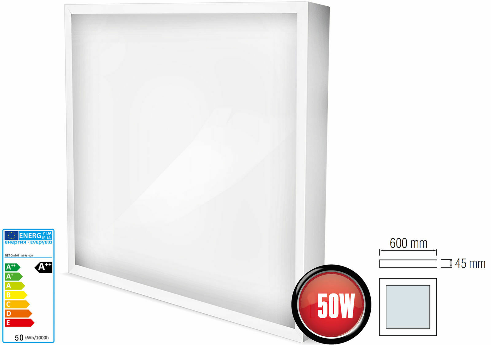 50W Panel LED Superficie Lámpara de Techo Parojo 60 X 60cm 4000Lm