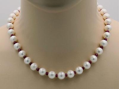 Unter Der Voraussetzung Süßwasser-perlenkette - Weiße Runde Perlen Mit Rubin 46,5 Cm - Gemini Gemstones Um 50 Prozent Reduziert
