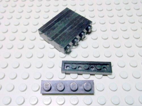 Lego 10 Platten 1x4 flach Noppen zu schwarz  3710 Set 1968 6041 6655 6062 6393