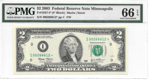 2003* Minneapolis $2 STAR FRN PMG 66 EPQ Gem Uncirculated I* Block