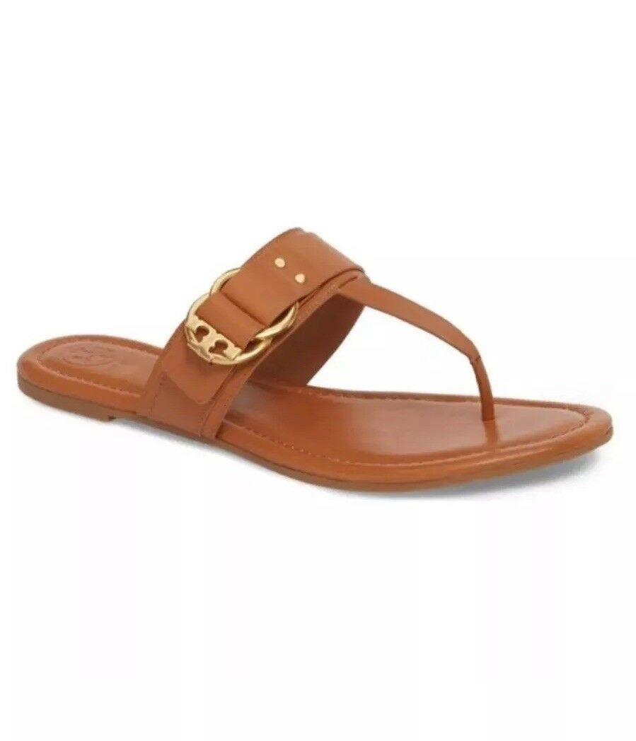 NIB Tory Burch Marsden Flat Leather Thong Sandals Tan  228