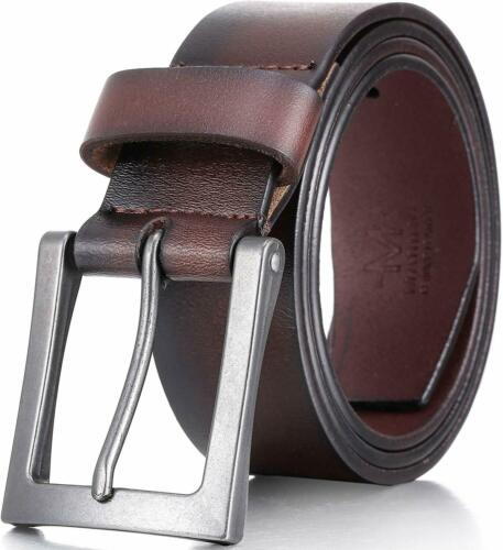 Marino Mens Leather Belt 1.5 Inch Wide Classic Jean Belts For Men