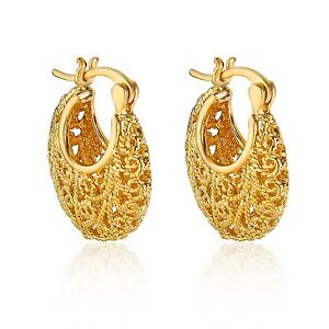 Fashion Jewellery Cute Filigree Yellow Gold Color Hoop Earrings - London, United Kingdom - Fashion Jewellery Cute Filigree Yellow Gold Color Hoop Earrings - London, United Kingdom