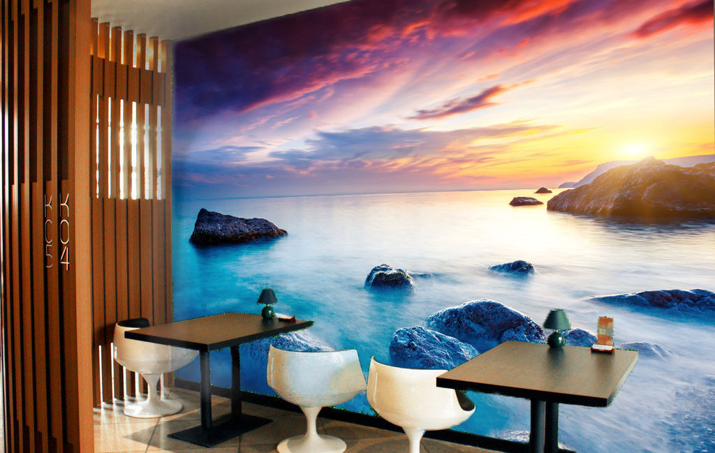 3D Sunset Stone Sea 55 Wall Paper Wall Print Decal Wall Deco Indoor Wall Murals