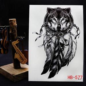Wolf-Dreamcatcher-Temporaere-Taetowierung-Grosser-Arm-Koerper-Art-Tattoo-Aufkleber
