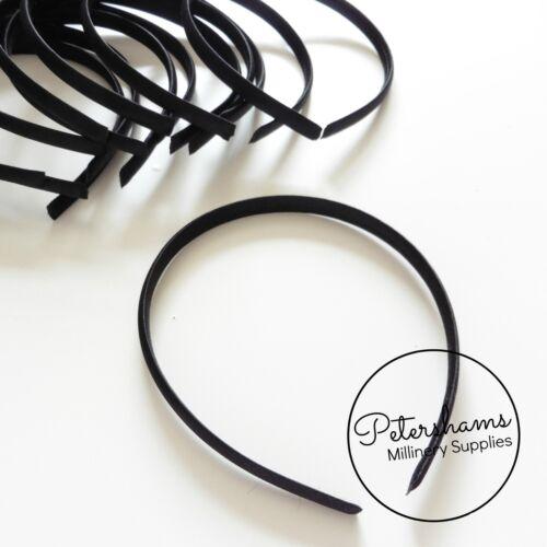 Black 9mm Satin Covered Plastic Headband Headband for Fascinators /& Millinery