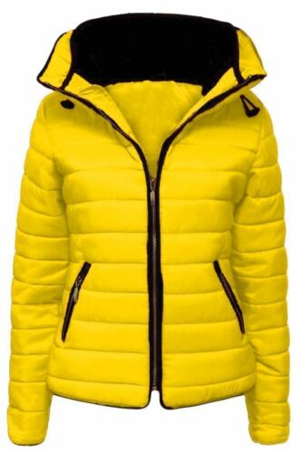 New Ladies Quilted Padded Puffer Bubble Fur Collar Womens Warm Thick Jacket Coat
