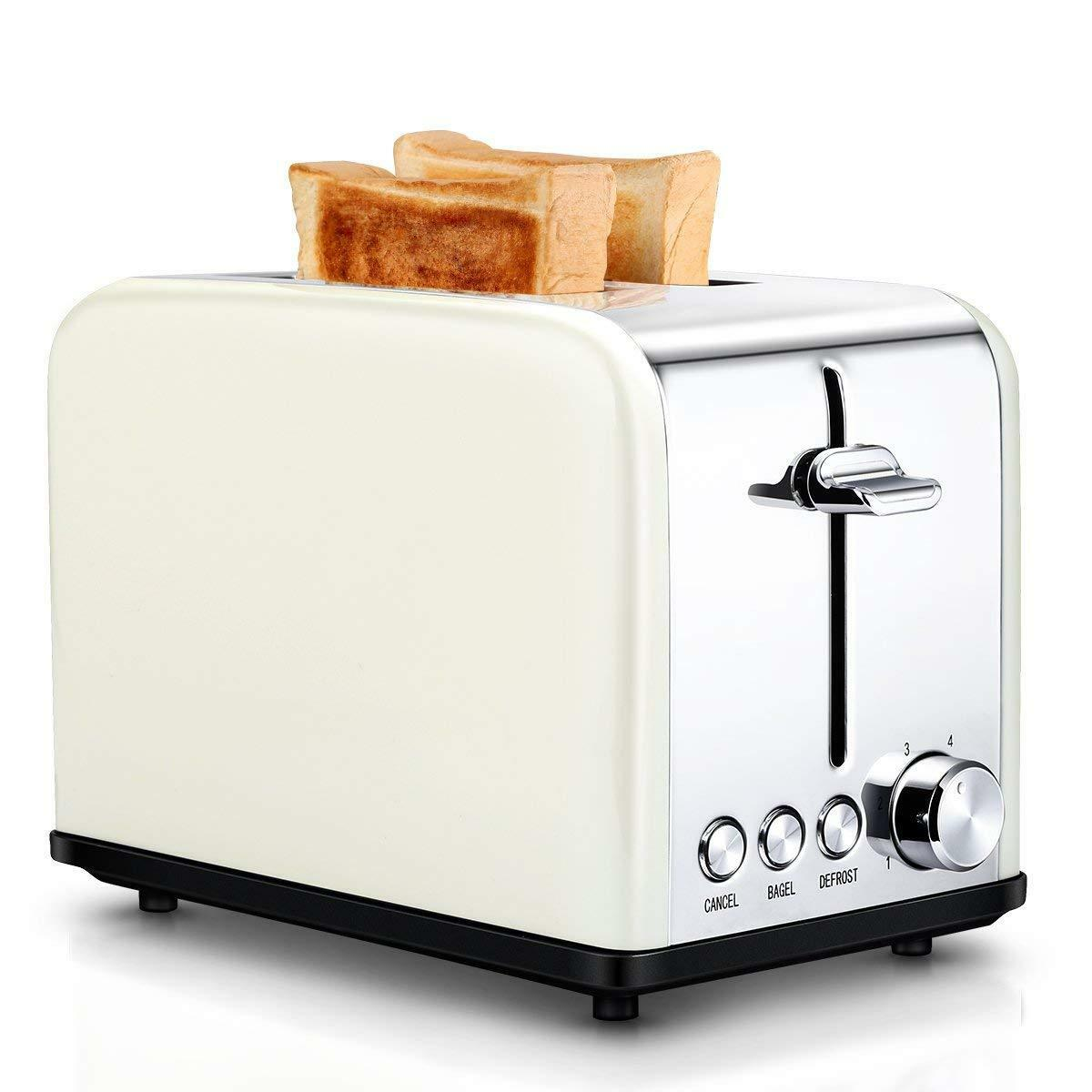 Retro 2 Slice Toaster Electric Vintage Wide Slots Bread marroning Settings TOBOX