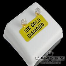Womens Ladies 0.15 Ct Genuine Real Diamond Cluster Flower Stud Earrings 10k Gold