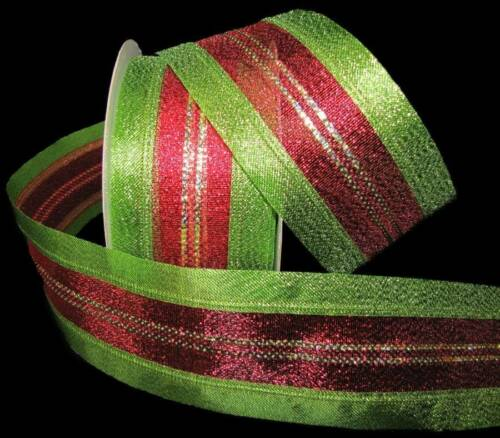 "5 Yards Christmas Green Red Gold Metallic Stripe Wired Ribbon 2 1//2/""W"