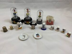 DISNEY-Lot-13-Assorted-Mickey-Mouse-Thimbles-Enesco-70-Happy-Years-2-Mini-Plates