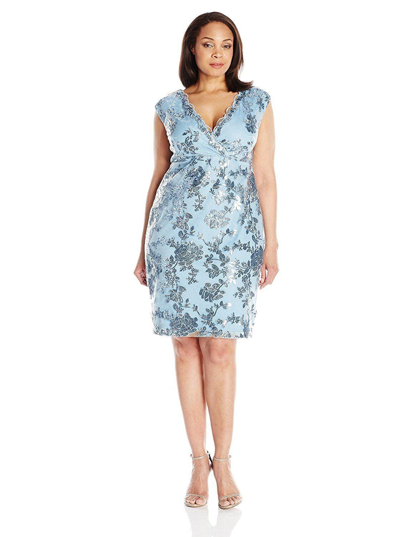 Marina Woherren Plus-Größe Short Dress In Floral Lace  Sz 20W