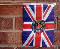 "UNION JACK WITH ROYAL CREST HAND WAVING FLAG medium 9"" X 6"" wooden pole flags UK"