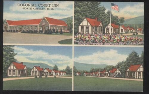Postcard NORTH CONWAY, NEW HAMPSHIRE NH Colonial Court Inn MultiView 1930's