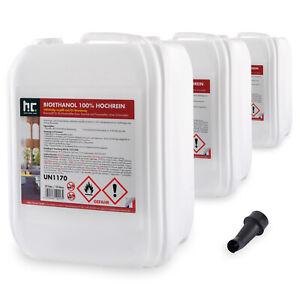 30 Liter (3 x 10 L) Bioethanol Hochrein 100% Bio Alkohol Kamin Brennflüssigkeit