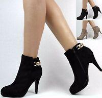 Stiefelette Stiefeletten Schwarz Braun Grau 36-41 Damenstiefel High Heels Boots