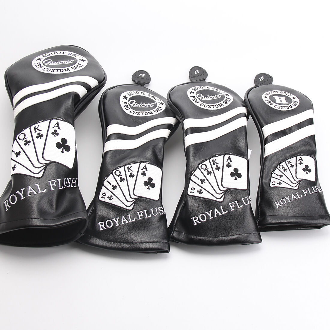Nuevo Negro Cuero PU Premium Royal Flush Cabeza Cubierta Set 4 cubre D, 3,5 & Híbrido