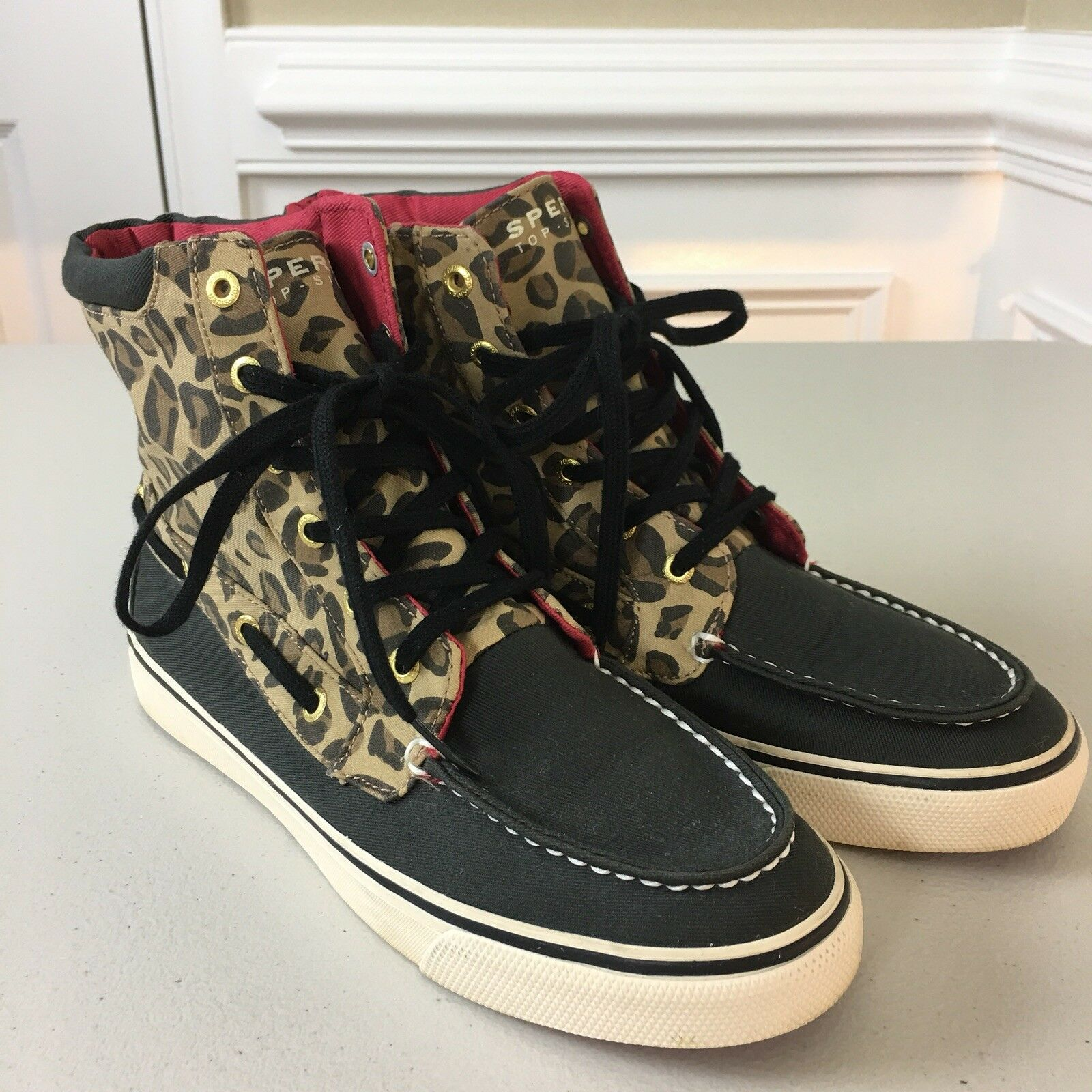 Sperry Top Sider Leopard Canvas High Top Boat Lace Up Women's Shoes Size 7.5