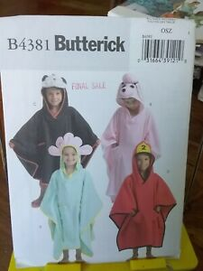 Oop-Butterick-4381-childs-coverup-hooded-bath-beach-flower-poodle-fits-2-6-NEW