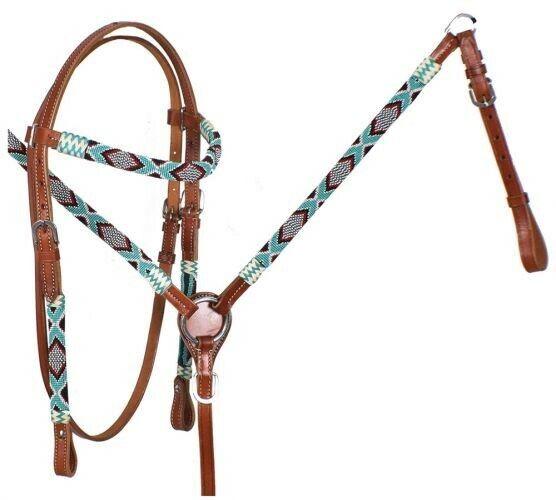 Showman turquesa y rojo con cuentas Navajo cuero cabezada & pecho collar conjunto  nuevo