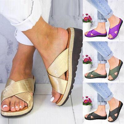 Womens Buckle Slip On Sandals Slippers Cork Heel Summer Beach Slider Shoes Size