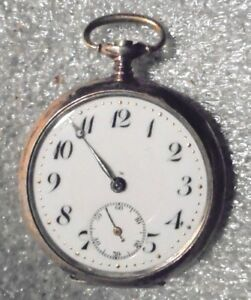 57767fa4e antique Swiss lady pocket watch 800 silver case with rose gold trim ...