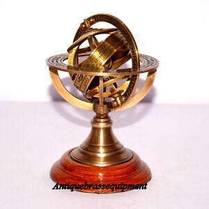 Vintage-nautical-brass-armillary-sphere-globe-collectible-nautical-decor-gift