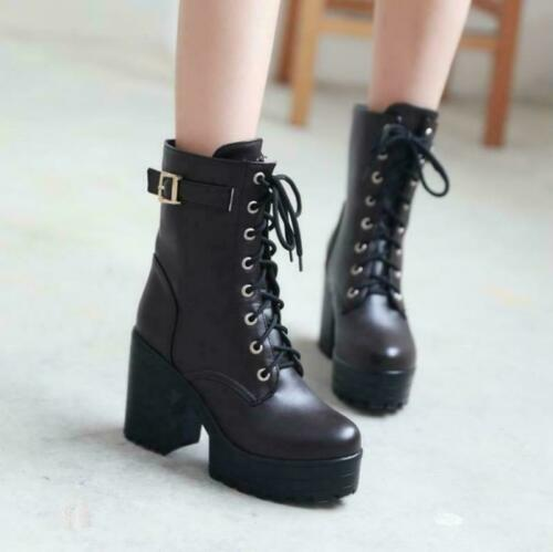 Details about  /Women Buckle Boots High Heels Lace Up Zipper Side Ankle Comfort Warm Shoes